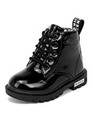 PPXID Kid's Patent-leather Waterproof Martin Boots(With Fur Inside)