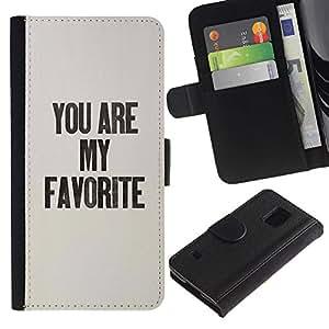 Billetera de Cuero Caso Titular de la tarjeta Carcasa Funda para Samsung Galaxy S5 V SM-G900 / You Are My Favorite Grey Text Black Love / STRONG