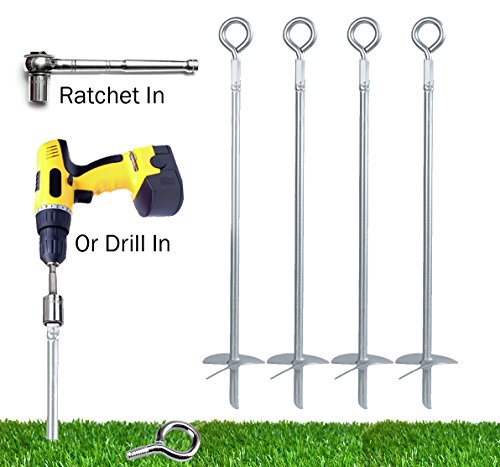 Powerful 8-Piece Earth Auger Shed Anchor Kit - 1000 LBS Pressure Tested Hold Per Stake – 10 Sec Install w/ Cordless Drill. Heavy Duty, Reusable, Rust Proof Steel Inground Anchor Set, Lifetime Warranty