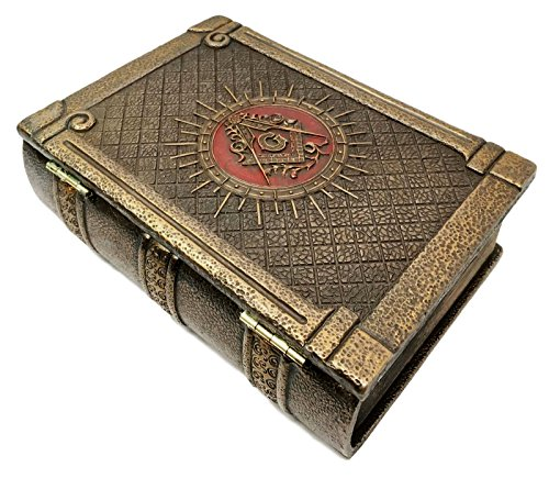 Masonic Symbol Freemasonry Square and Compasses Ritual Morality Bronzed Hinged Book Box Jewelry Container