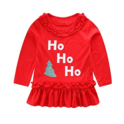 iuhan clearance sale baby girls dress christmas toddler girls christmas long sleeve cartoon ho letter