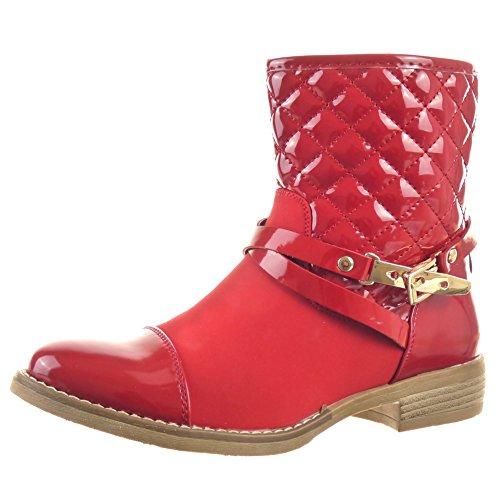 Sopily - Scarpe da Moda Stivaletti - Scarponcini Cavalier Stivali pioggia donna lucide trapuntata fibbia Tacco a blocco 2.5 CM - Rosso