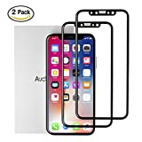 iPhone X Screen Protector Hd Glass, Auckly 3D Curved Tempered Glass Screen Protector [Full Coverage] [Case Friendly] [9H Hardness], Ultra Clear Protection Film for Apple iPhone X | iPhone 10 (2-Pack)