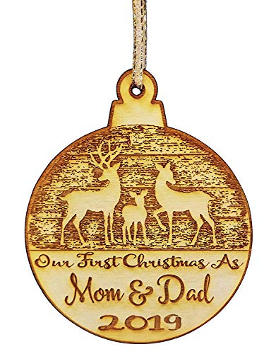 (Wedding Collectibles Our First Christmas As Mom and Dad Christmas Ornament (2019) Boy and Girl Tree Hanging Decoration | 1st Collectible Keepsake and Heirloom | Mom, Dad, Babies, Infants, Newborns | V)