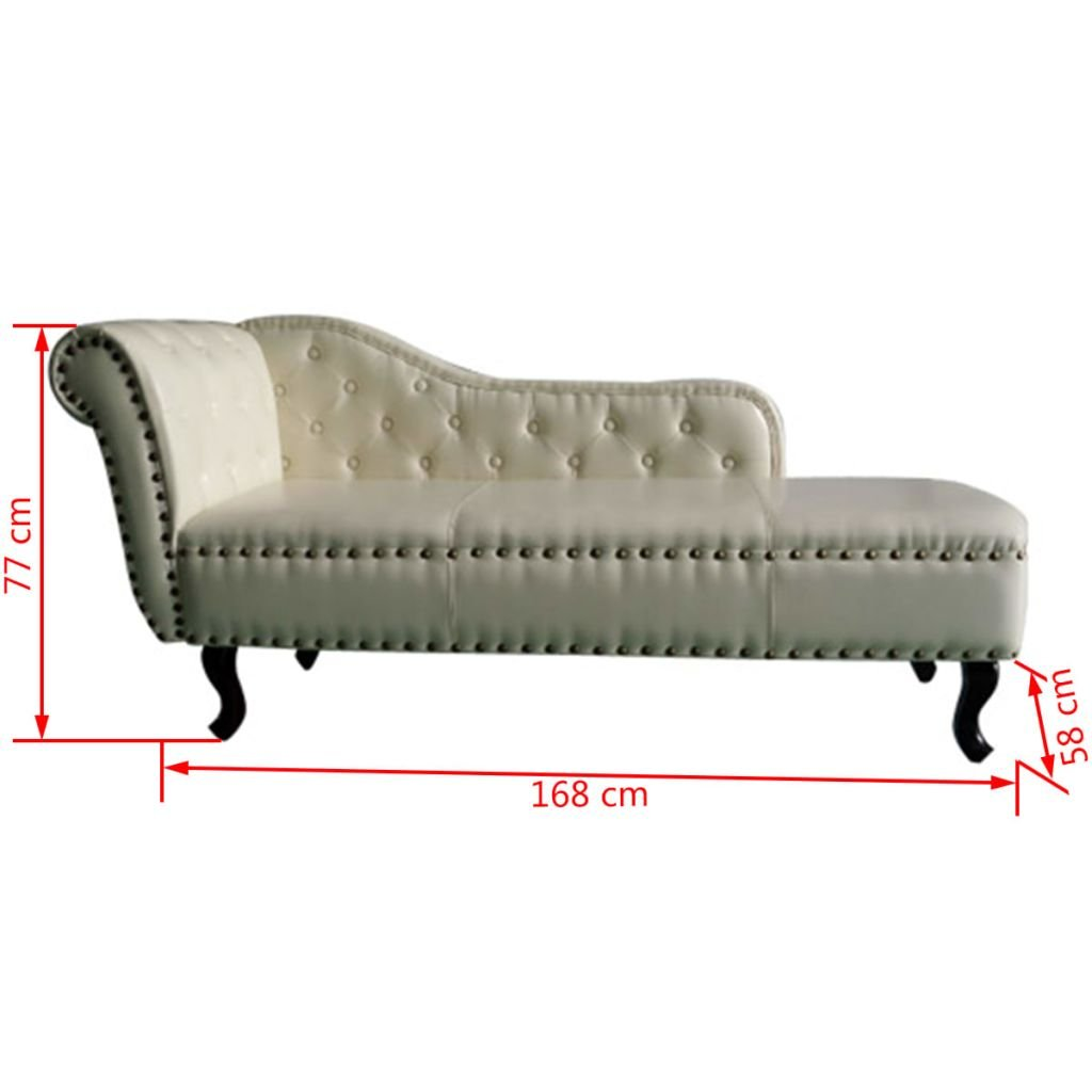 vidaXL CHAISE LONGUE CHESTERFIELD POLTRONA CHESTERFIELD CREMA ...