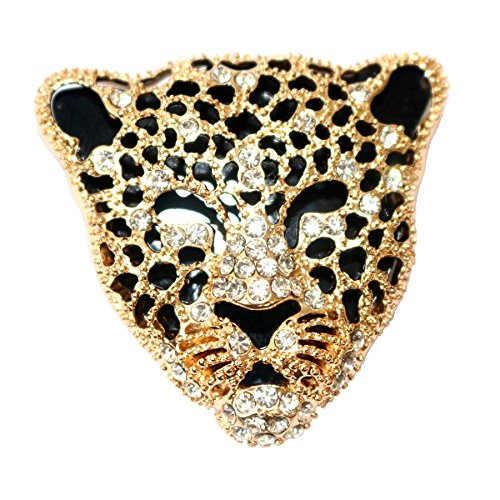 Navachi 18k Gold Plated White Crystal Enamel Leopard Head Brooch ()