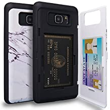 Galaxy Note 5 Case, TORU [Note 5 Wallet Case Pattern Marble] Protective Slim Fit Dual Layer Hidden Credit Card Holder ID Slot Card Case with Mirror for Samsung Galaxy Note 5 - Marble Stone