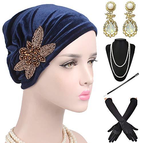 1920s Headwrap Accessories Set - Velvet Turban Hat Cap,Gatsby Long Gloves, Earrings,Pearl Necklace for Women,Navy Blue