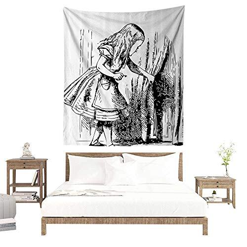 alisoso Tapestries for Sale,Alice in Wonderland Decorations,Black and White Alice Looking Through Curtains Hidden Door Adventure,Black White W55 x L55 inch Wall Decoration Tapestry Beach -