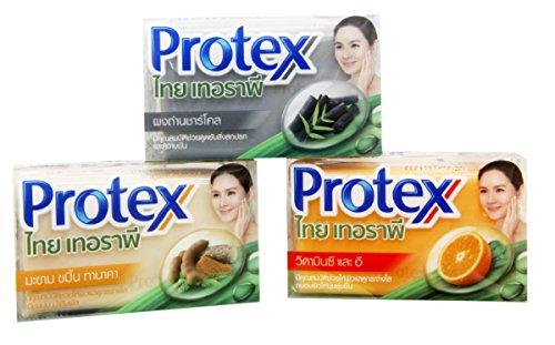 - Protex Thai Therapy Soap Bar Vitamin C & E, Tamarind Turmeric & Thanaka, Charcoal, Mix 3 Pieces