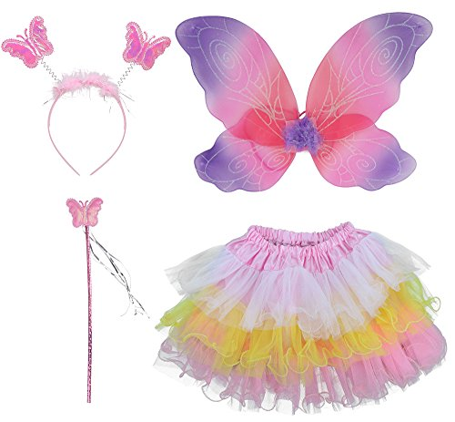Pink And Purple Tutu Costume (Girls' Fairy Wings Wand Head Tutu Halloween Costume Set, Purple & Pink for Party)