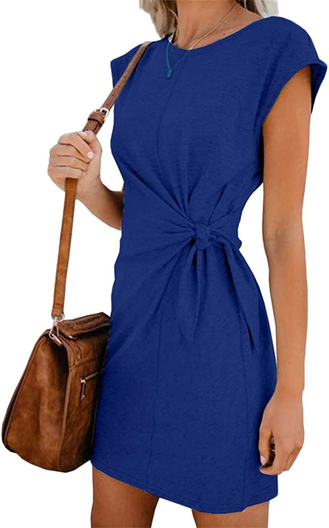 Damen Rundhals Minikleid Sommerkleid Jerseykleid Tunika Freizeit Shirtkleid 40