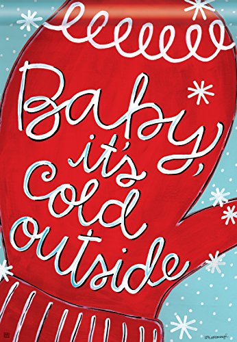 Baby Its Cold Winter House Flag Decorative Mittens Banner 28  X 40
