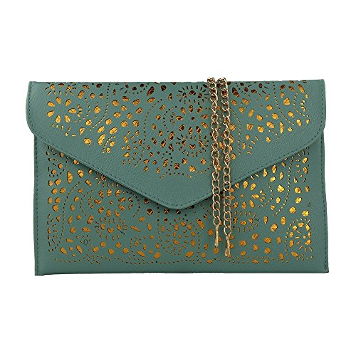 Women Perforated Cut Out Pattern Gold Accent Background Chain Pouch Fashion Clutch Handbag Wedding Party Purses Envelope Evening Chain Day Clutch Bag for Women Ladies 2019 (Light Green)