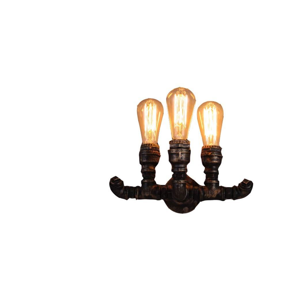 Europäische Retro Gang-Treppenhaus-Beleuchtung-nordische industrielle Restaurant-Stange Kreative DREI-köpfige Wasserrohr-Wand-Lampe