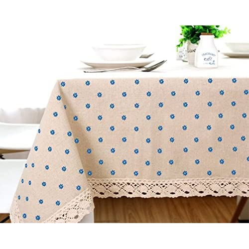 Cotton And Hemp, Machine Washable, Dinner, Summer & Picnic Tablecloth, Available In Various Sizes(Blue,35.4x35.4In)