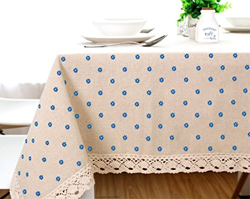 Cotton And Hemp, Machine Washable, Dinner, Summer & Picnic Tablecloth, Available In Various Sizes(Blue,35.4x55.1In) by LINENLUX (Image #3)