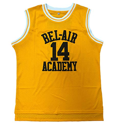 Youth Will Smith #14 Shirts The Fresh Prince of Bel Air Academy Basketball Jersey (Yellow, Youth Small)