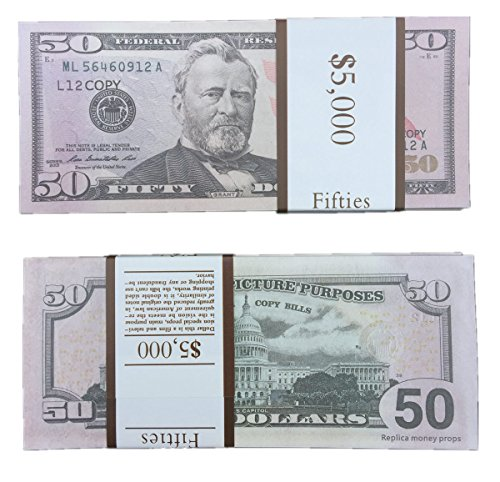 PLAY MONEY $50X1000 Pcs Total $50,000 Dollar US Currency Props FAKE MONEY Advertising & Novelty Real Looking New Style Copy Double-Sided Printing - for Movie, TV, Videos