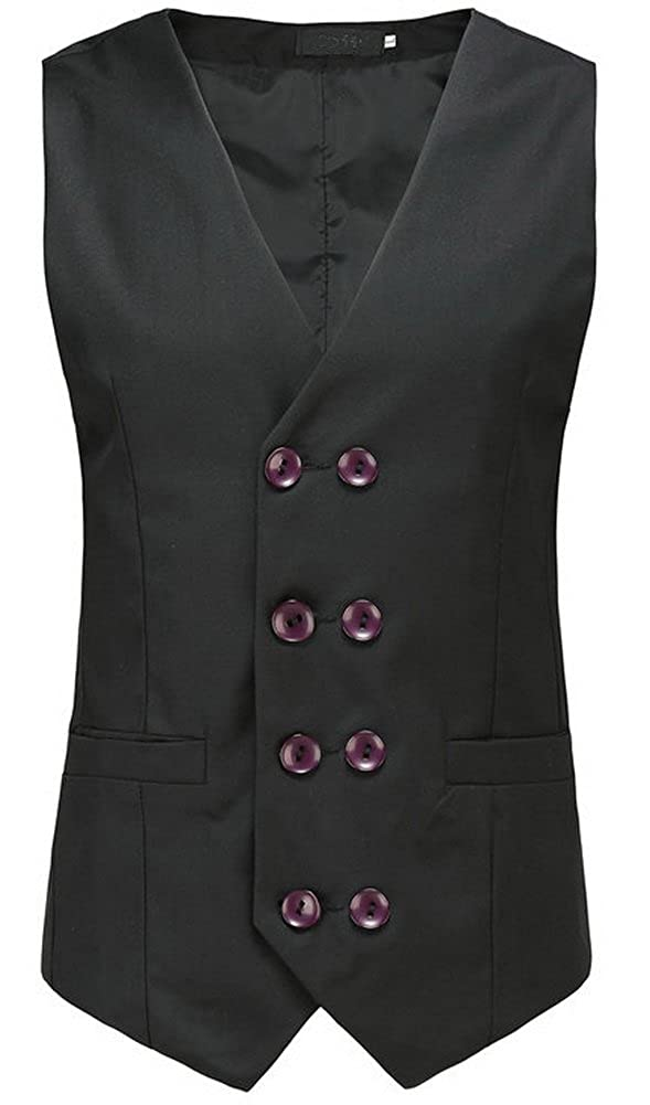 Vocni Mens Casual Double-breasted Slim Fit Skinny Jacket Business Suit Vest Waistcoat