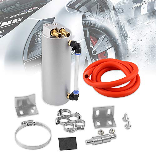- RYANSTAR Univarsal Aluminum Racing Engine Oil Catch Tank CAN Kit Turbo Reservoir Billet Round 450ML Silver