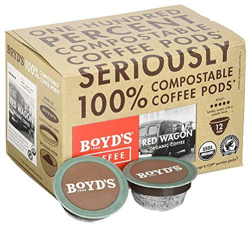 Boyd's Coffee Organic Red Wagon Coffee - Dark Roast - Single serve pods (72 Count) ()