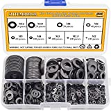 Sutemribor Black Zinc Plated Alloy Steel Flat Washers Set 580 pcs, 9 Sizes - M2 M2.5 M3 M4 M5 M6 M8 M10 M12