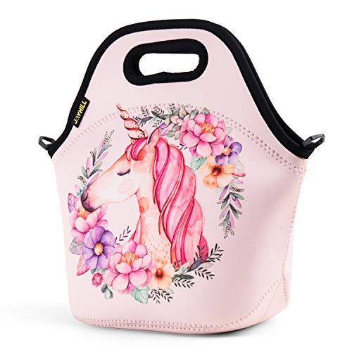 Neoprene Lunch Bag, Cute lunch bags for Women Kids Girls Men Teen Boys, Insulated Waterproof Lunch Tote Box for Work School Travel and Picnic (Pink Unicorn)