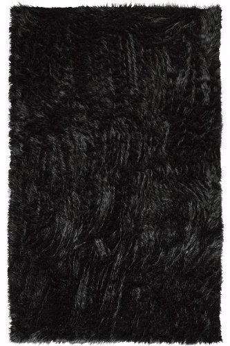 Faux Sheepskin Area Rug, 3'X5', Black