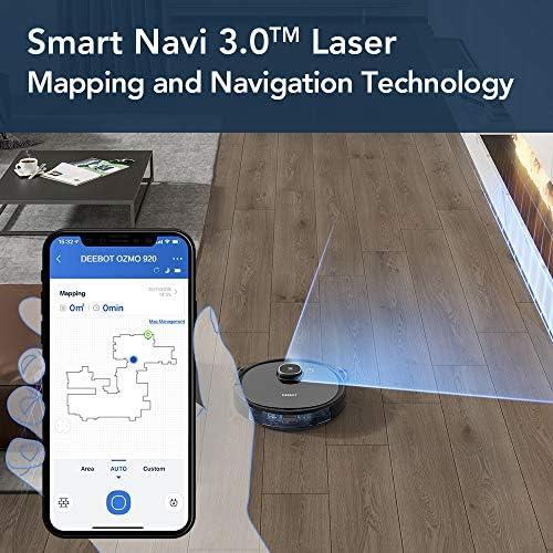 ECOVACS OZMO920 Robot Aspirateur Laveur, 2-en-1 avec Technologie Laser Smart Navi 3.0, Nettoyage Personnalisé, Cartographie multi-étages, Barrières Virtuelles, sur les Tapis, Moquettes et Sols Durs - Home Robots