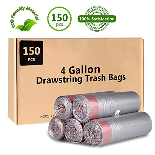 Small Drawstring Trash Bags 4 Gallon, Dekun Garbage Bags for Office, Home Wastebaskets/Trash Cans, 15 Liter, 150 Counts, - Max 4 Bag Diaper