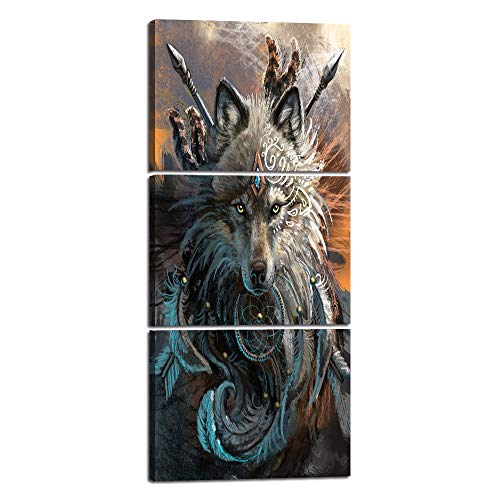 """Yatsen Bridge 3 PCS Wall Art Picture for Living Room Bedroom Native American Indian Wolf Warrior Canvas Painting Prints Feathered Poster Modern Artwork Home Decoration Framed Ready to Hang (16""""Wx36""""H)"""