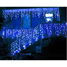 NOVADEAL 110V 3.5M/11ft 96 LED Linkable Fairy Curtain String Light with 8 Modes For Indoor/Outdoor/Garden/Patio/Christmas Party Holiday Decoration - Blue