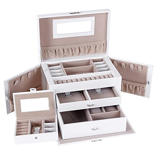SONGMICS Jewelry Box Girls Jewelry Organizer Mirrored Mini Travel Case Lockable White UJBC121W
