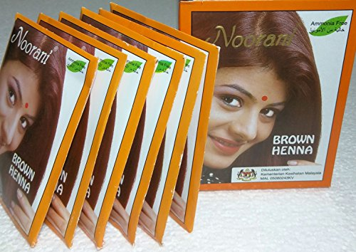 Noorani Brown Henna for Hair 6 X 10 Gms (Box of 100) by Halaljj