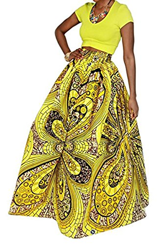 Women's African Skirt Floral Glamorous Print Pleated High Waist Casual Boho Beach Maxi with Pockets]()