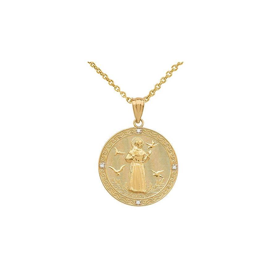 10k Gold Saint Francis of Assisi Diamond Round Medal Charm Necklace (Medium)