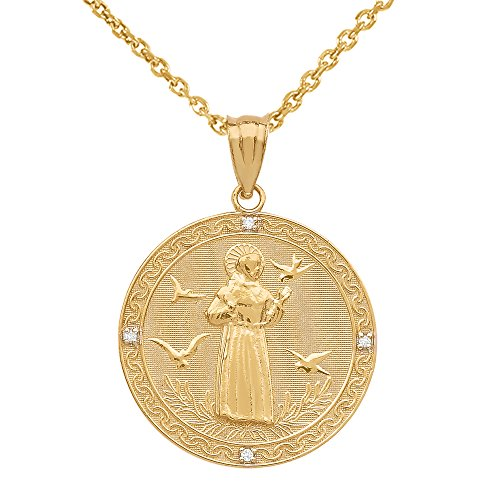 10k Gold Saint Francis Of Assisi Diamond Round Medal Charm Necklace (Medium)