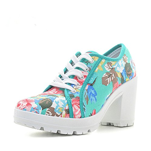 Batsomer Comfortable Platform Shoes Women Floral Woman High Heels Shoes New High Canvas Shoes Thick Heels Wedg Womens Shoes Heels Green 9