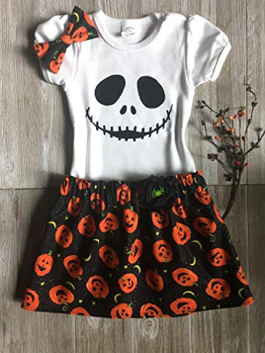 Halloween outfit, infant to toddler girl Jack the Pumpkin King outfit -