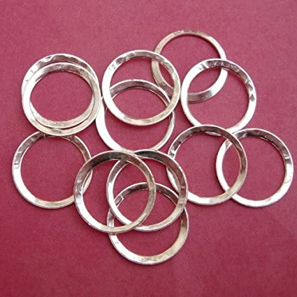 15 pcs of Silver Plated hammered circle link 16mm