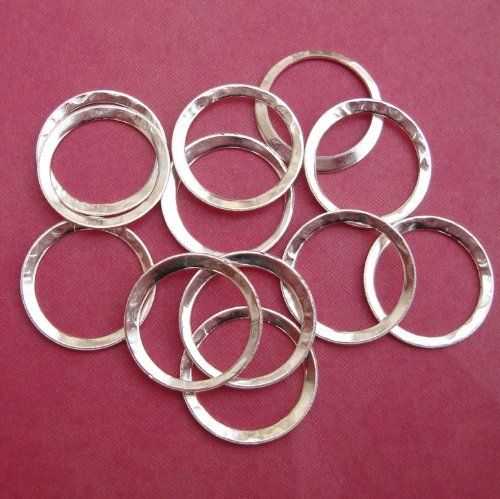Connector Link Ring Textured Hammered Silver Plated Closed- 16 mm-20pcs. ()