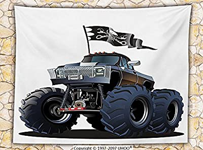 Cars Decor Fleece Throw Blanket Popular Large Suspension Monster Truck with Dead Skull Pirate Flag Off to Road Artsy Decor Throw