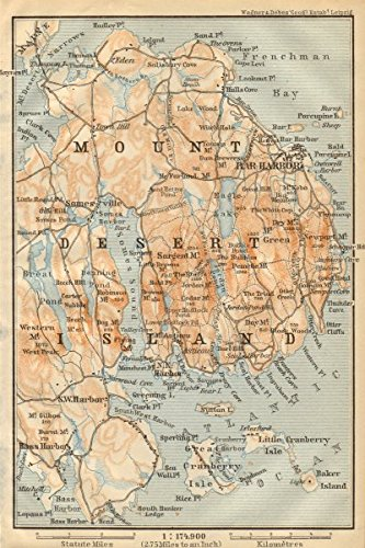 Amazoncom MOUNT DESERT ISLAND Maine Bar Harbor BAEDEKER - Antique map of maine