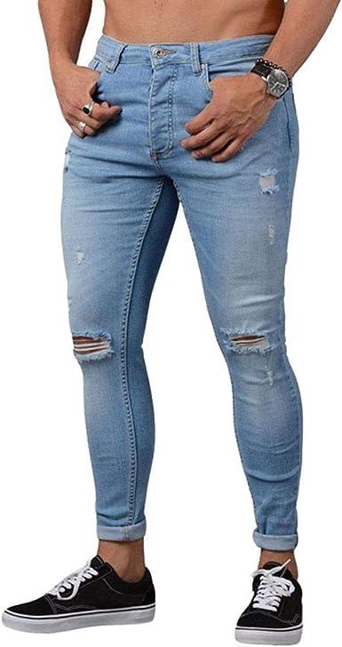 Jeans Ajustados Pantalones De Mezclilla Rasgados Para Hombres Con Grietas Agujeros Destruidos Hasta Festivo La Rodilla Pantalones Vaqueros Rotos Pantalones Elasticos Basicos Pantalones Desgastados Amazon Es Ropa Y Accesorios
