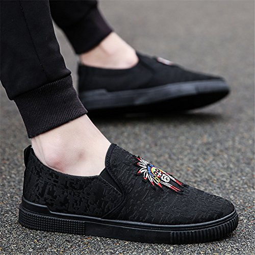 Scurtain Mens Slip On Cloth Driving Shoes Casual Fashion Flats Loafers Black Black-7 lVvnl15IU