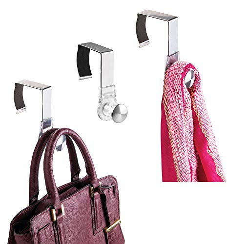 mDesign Modern Metal and Plastic Office Over The Cubicle Storage Organizer Hooks - Wall Panel Hangers for Accessories, Coats, Hats, Purses, Bags, Keychain - Pack of 3, Clear/Brushed Stainless Steel