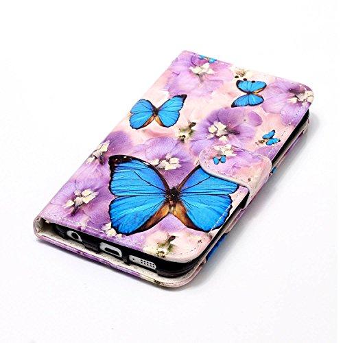 Funda Galaxy S6 edge,SainCat Funda de cuero sintético tipo billetera con de Suave PU Carcasa Con Tapa y Cartera,Elegante Estuche Caja,Pintado en relieve árbol Cuero de la PU Leather Cubierta Plegable  Mariposa violeta