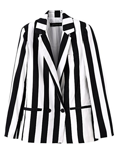 Beetlejuice Costume Women Black and White Striped Leisure Blazers Jacket (Black and White, XL) -