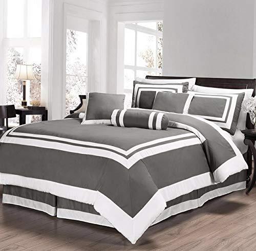 Kaputar Caprice 7-Piece Gray Square Hotel Style Comforter Set | Model CMFRTRSTS - 8275 | Queen